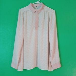 Free People Cream Light Pink Shirt